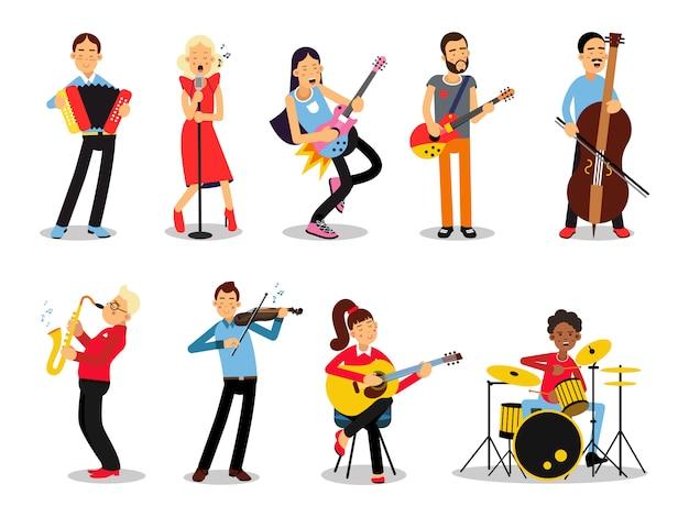 Varios músicos, personajes en la ilustración de estilo plano