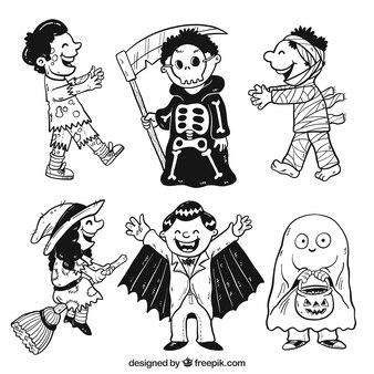 Varios niños disfrazados de halloween dibujados a mano