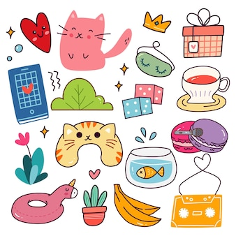 Varios objetos en estilo kawaii doodle