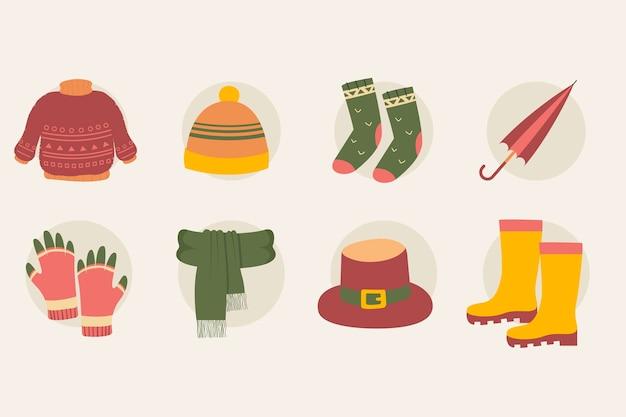 Varios objetos de otoño y conjunto de ropa.
