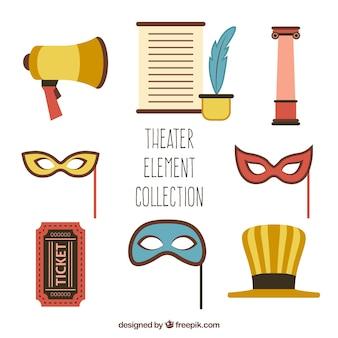 Varios objetos de teatro en diseño plano