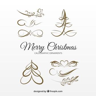 Varios ornamentos caligráficos dorados navideños