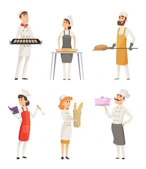 Varios panaderos de personajes de dibujos animados en el trabajo