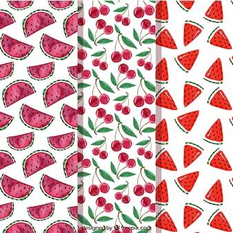 Varios patrones de fruta en estilo de acuarela