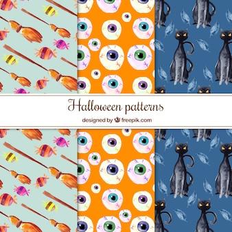 Varios patrones de halloween de acuarela