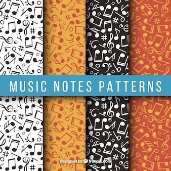 Varios patrones con notas musicales planas