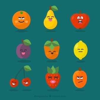 Varios personajes de fruta con expresiones faciales