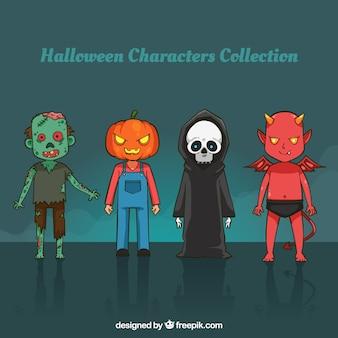 Varios personajes de halloween dibujados a mano