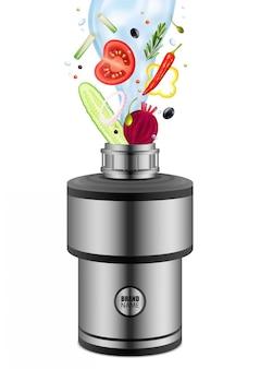 Varios productos alimenticios con agua que cae en el triturador de residuos de alimentos composición realista en blanco