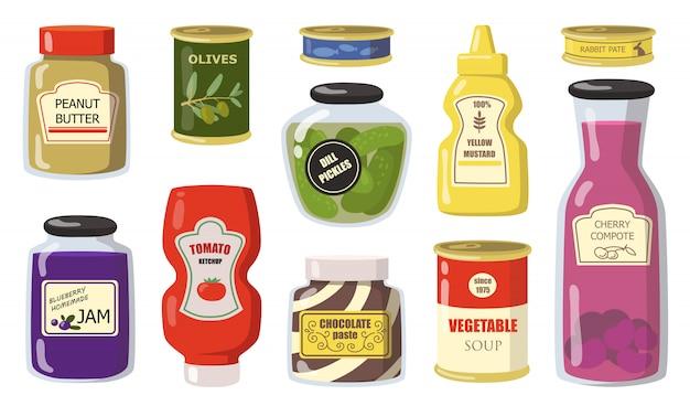 Varios productos enlatados del conjunto plano de supermercado.