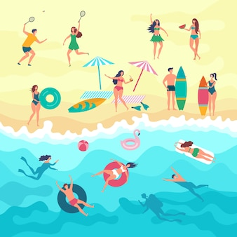 Varios pueblos masculinos, femeninos y niños jugando en la playa. actividades de verano al aire libre