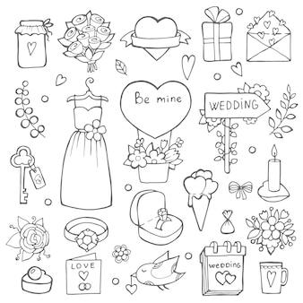 Varios símbolos del día de la boda, conjunto de bodas dibujado a mano