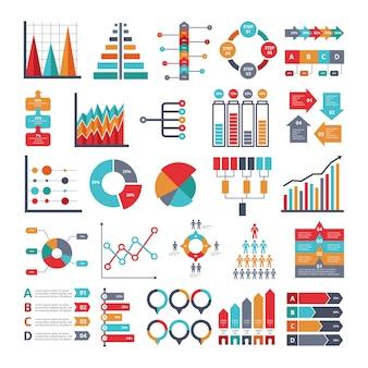 Varios símbolos de negocios para proyectos infográficos.
