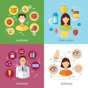 Varios síntomas de tipos de alergias