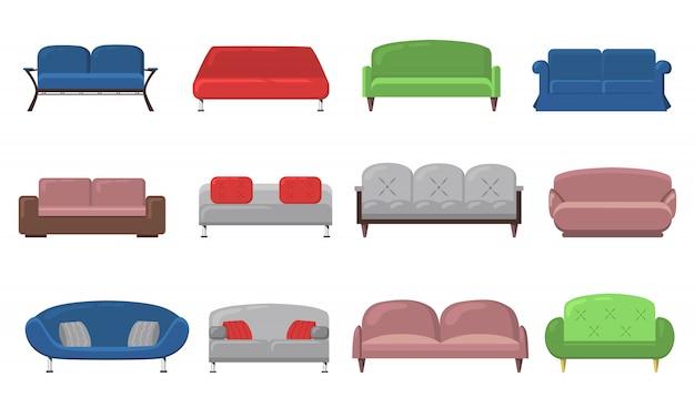 Varios sofás y sofás modernos vector gratuito