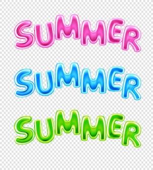 Varios textos de ilustración de palabras de verano