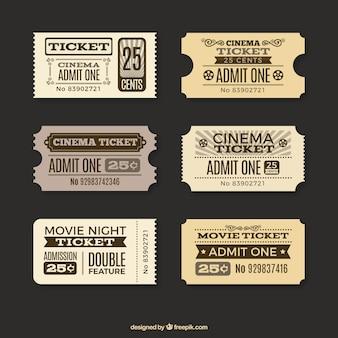 Varios tickets de cine en estilo vintage
