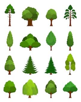 Varios tipos diferentes de iconos de árboles