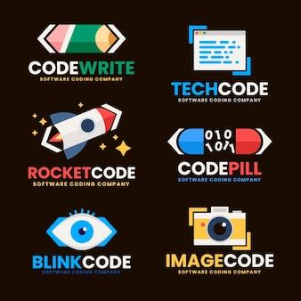 Varios tipos de diseño plano de logotipo de código.