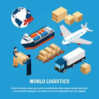 Varios tipos de logística de transporte de carga y servicio de entrega conjunto de trabajadores aislado en azul ilustración isométrica 3d