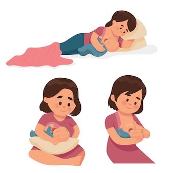 Varios tipos de madres amamantando bebés.