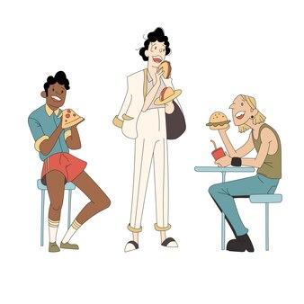 Varios tipos de personas que comen comida rápida