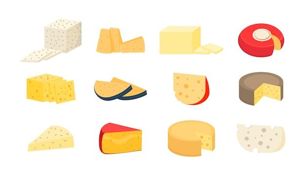 Varios tipos de queso. juego de rodajas y ruedas de queso sobre un fondo blanco. iconos realistas de estilo moderno. queso parmesano o cheddar fresco. ilustración,.