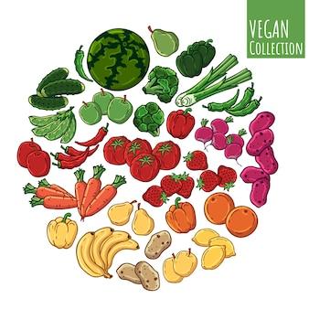 Varios tipos de verduras y frutas frescas.