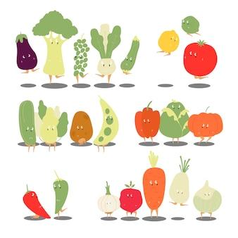 Varios vectores de personajes de dibujos animados vegetales orgánicos conjunto