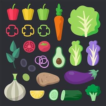 Varios vectores de verduras orgánicas frescas paquete