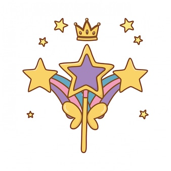 Varita con arcoiris y corona