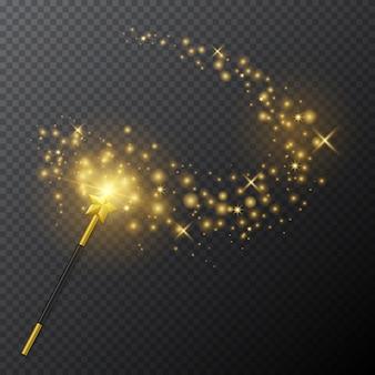 Varita mágica dorada con efecto de luz brillante sobre fondo transparente.