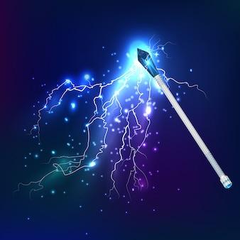 Varita mágica con efecto de descarga eléctrica
