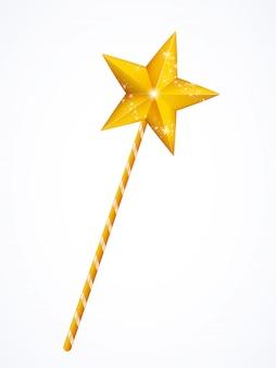Varita mágica de hada dorada, princesa con estrella