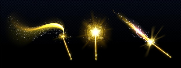 Varita mágica de oro con destellos de estrellas y hechizos aislados en transparente