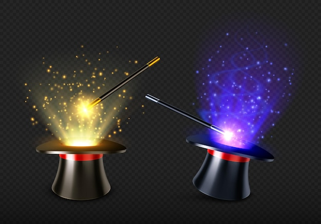 Varita mágica y sombrero de mago con luz de hechizo y destellos.