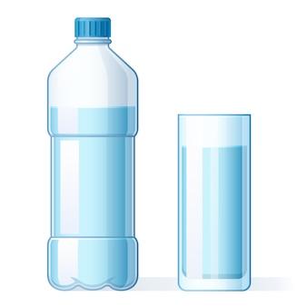 Vaso de agua y botella de plástico. hidratación, botellas de líquido puro y agua mineral embotellada beben ilustración vectorial de dibujos animados