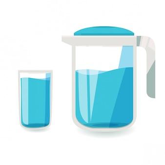 Un vaso de agua y una jarra de agua.