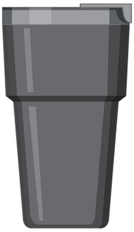Vaso de agua de metal negro aislado