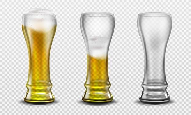 Vaso alto lleno de cerveza, medio lleno y vacío.