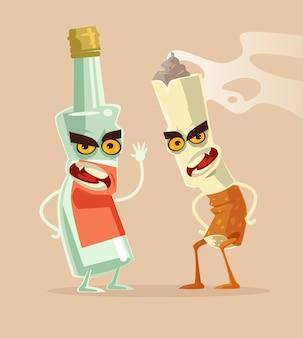 Vaso de botella enojado de vodka y personajes de cigarrillos mejores amigos. malos hábitos. adicción a la bebida y al tabaquismo.