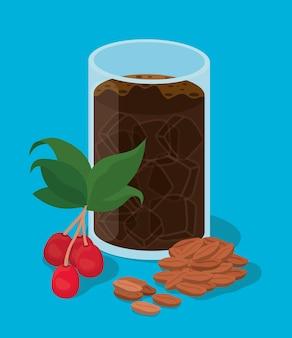 Vaso de café helado con hojas de bayas y diseño de frijoles de bebida con cafeína, desayuno y tema de bebidas.