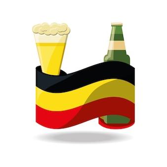 Vaso de cerveza y botella con bandera de alemania