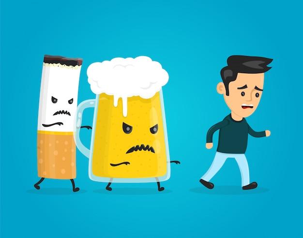 Vaso de cerveza y cigarrillos persiguiendo a un hombre
