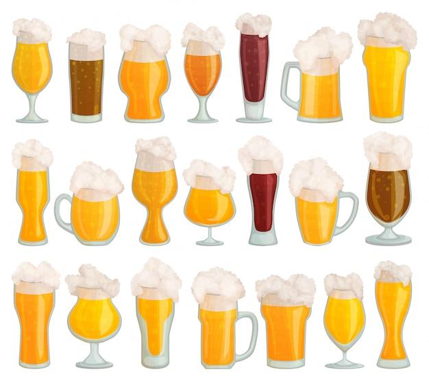 Vaso de cerveza conjunto de dibujos animados icono. conjunto de dibujos animados aislado icono pinta cristalería.