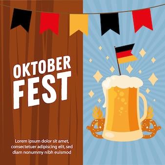 Vaso de cerveza con diseño de banderín de bandera y estandarte, tema de celebración y festival alemán oktoberfest