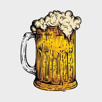 Vaso de cerveza, estilo grabado dibujado a mano en boceto antiguo