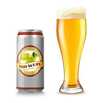Vaso de cerveza y lata