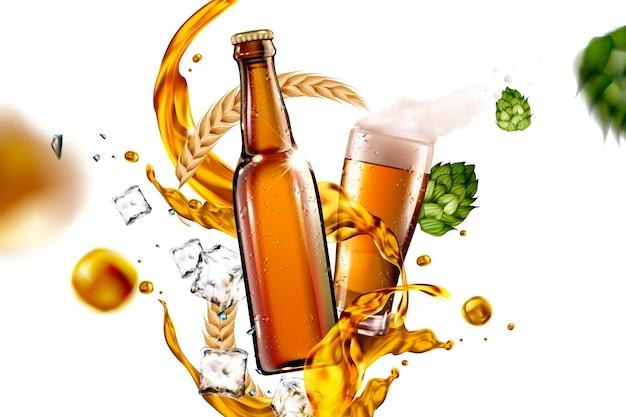 Vaso de cerveza con líquido e ingredientes volando en el aire