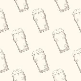 Vaso de cerveza de patrones sin fisuras. diseño de bebidas alcohólicas.